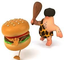 burger and stone age man graphic